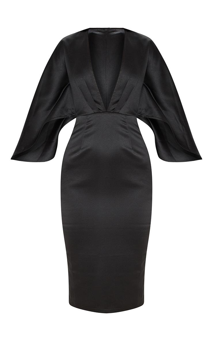 Black Satin Structured Cape Midi Dress 3