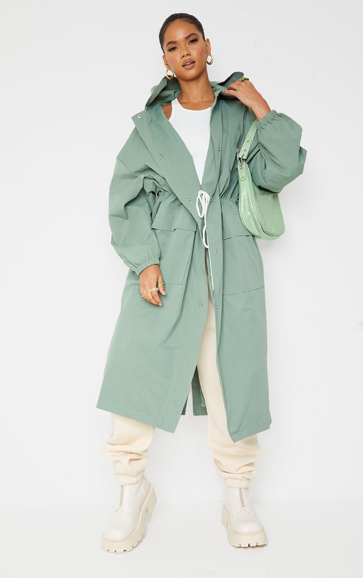 PRETTYLITTLETHING Khaki Elastic Waist Drop Shoulder Trench Coat 3