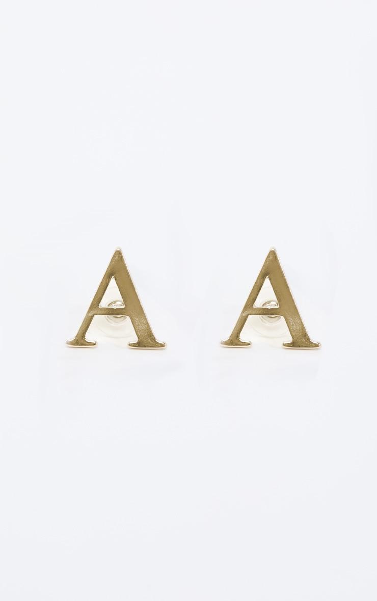 Gold A Letter Stud Earrings 2