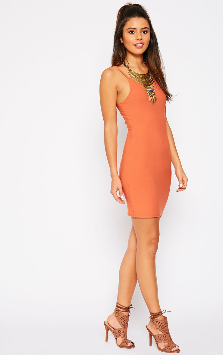 Juli Rust Crepe Racer Neck Mini Dress 3