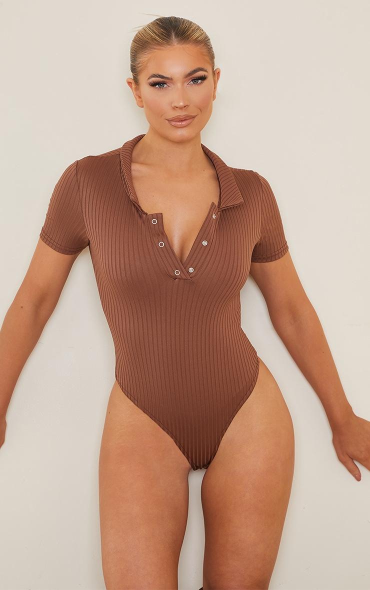 Chocolate Rib Polo Bodysuit 2