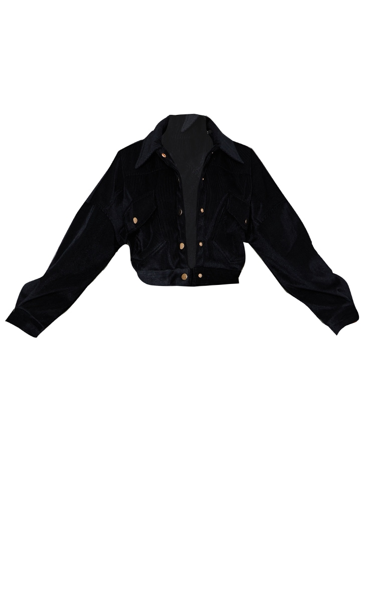 Black Cropped Cord Oversized Trucker Jacket 5