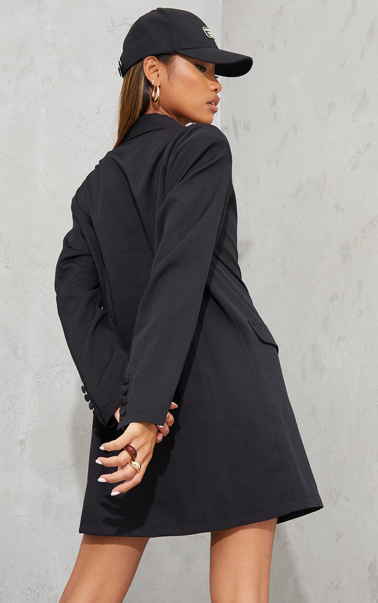 Black Long Sleeve Oversized Shoulder Pad Blazer Dress 2
