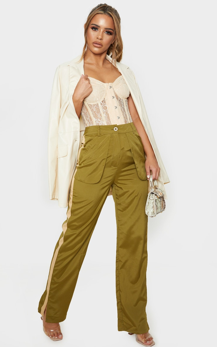 Petite Khaki Inside Out Pocket Trouser  1