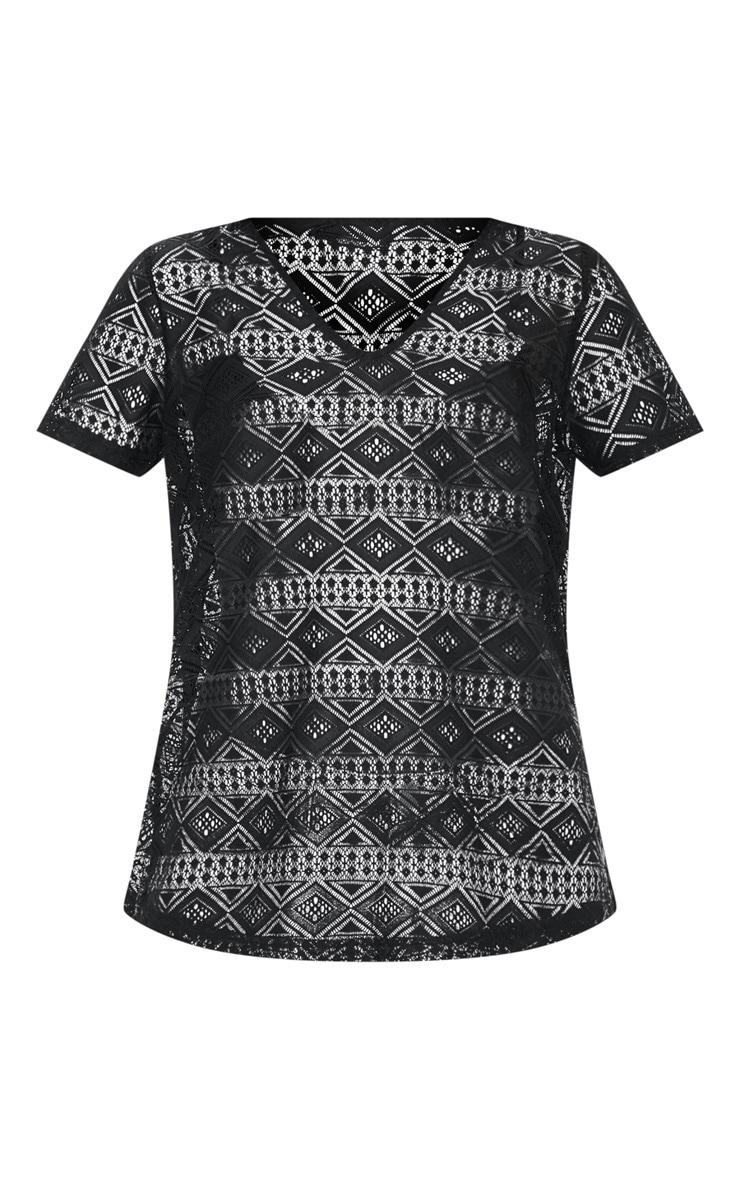 Black Cotton Crochet V Neck T-Shirt 3