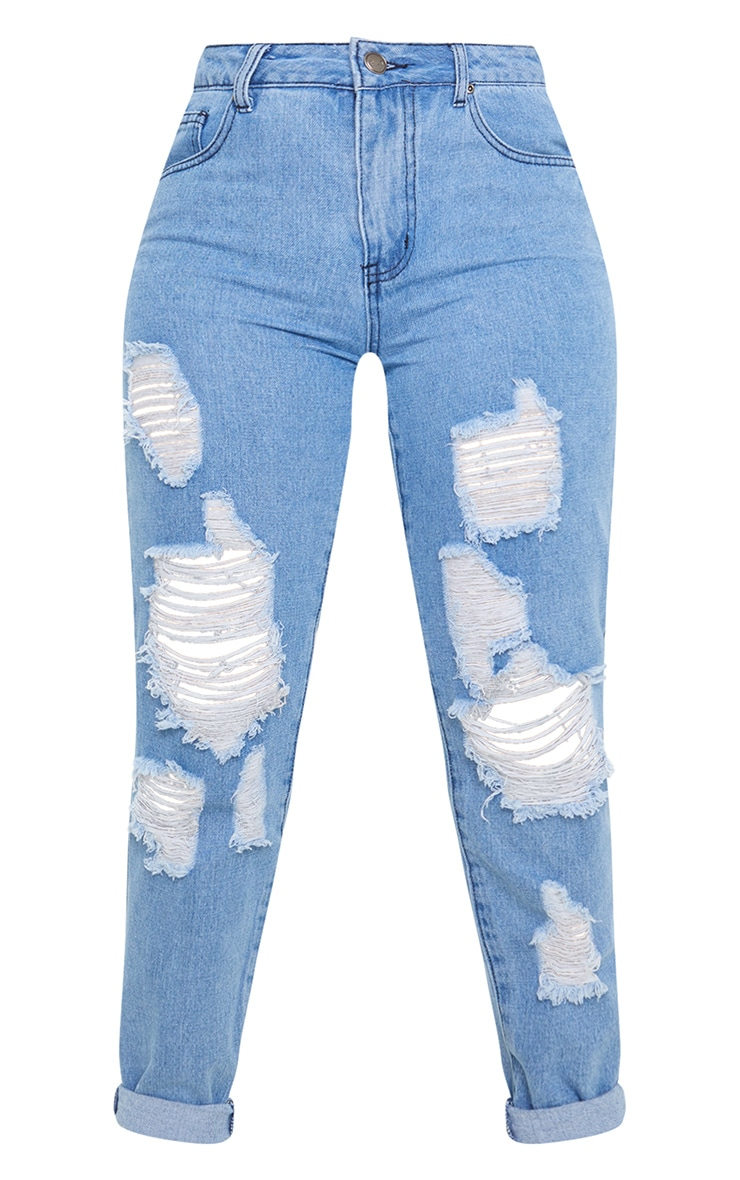 Petite Mid Wash Distressed Jean 3