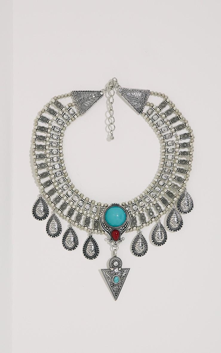 Rosina Silver Chunky Embellished Bib Necklace 1