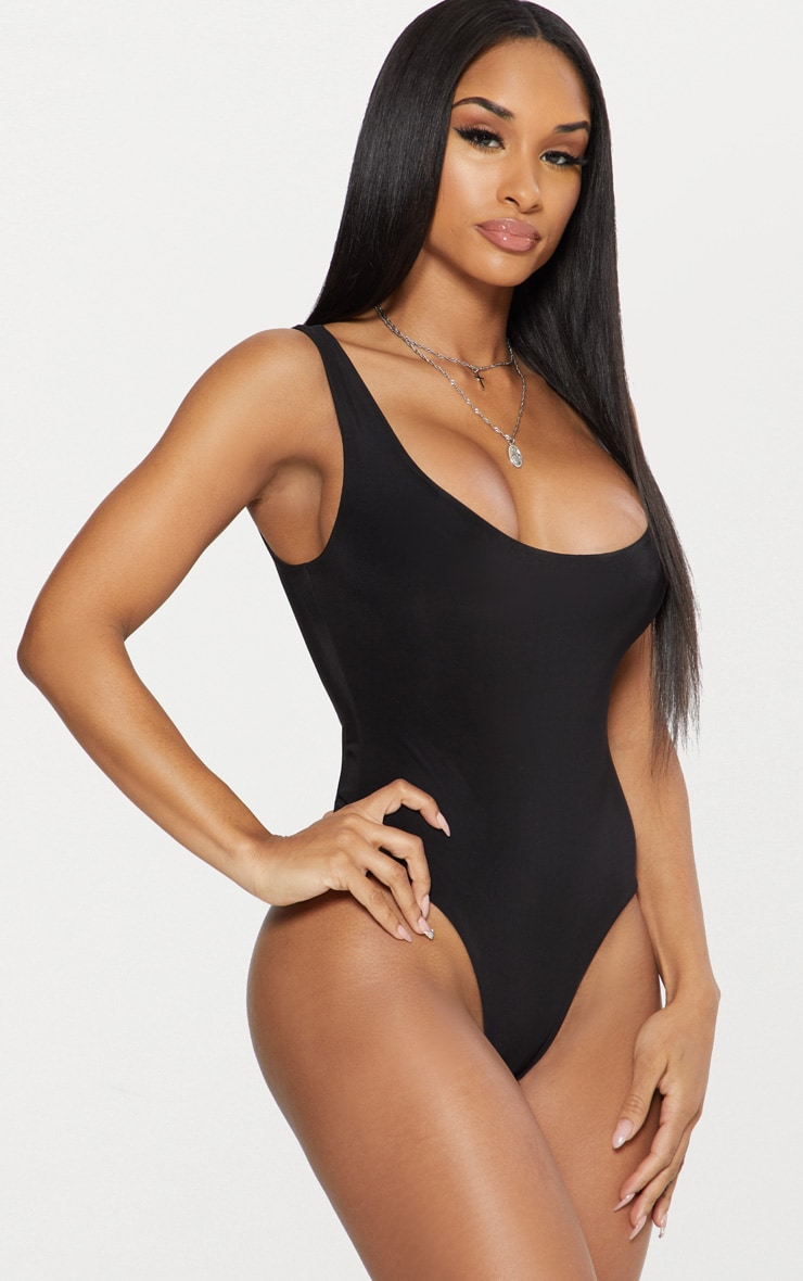 Black Second Skin Scoop Neck Thong Bodysuit  2