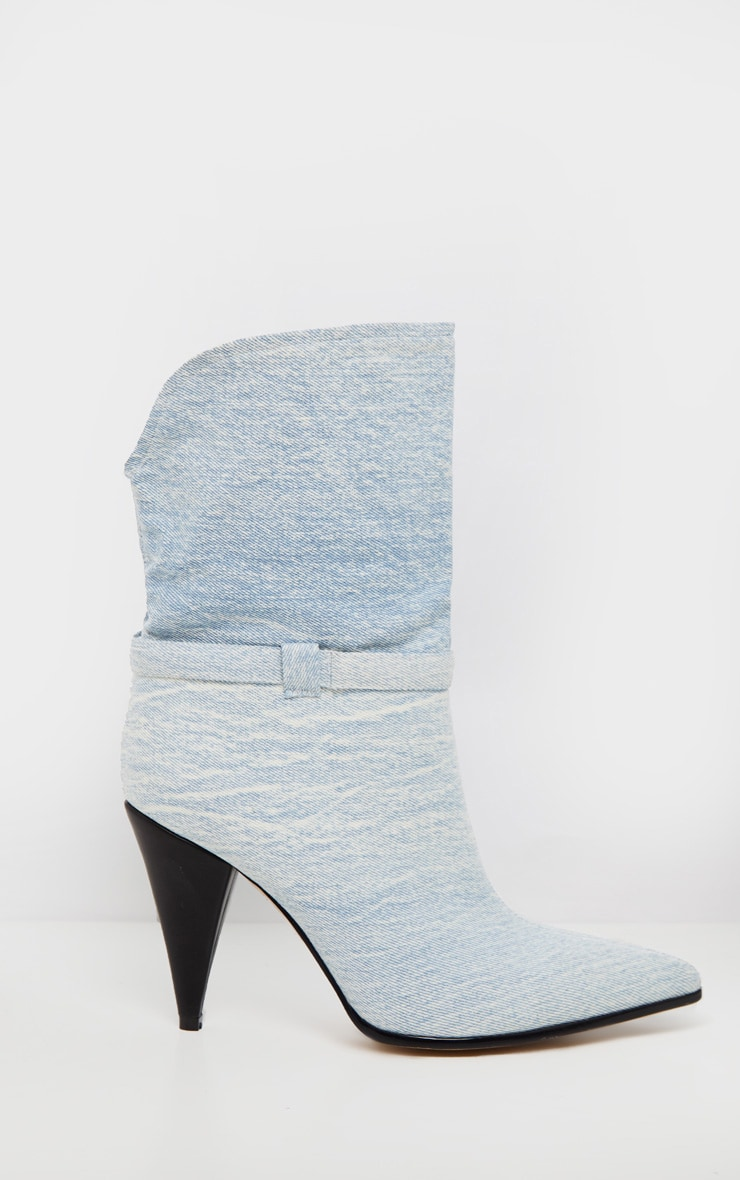 Denim Cone Heel Ankle Boot 4