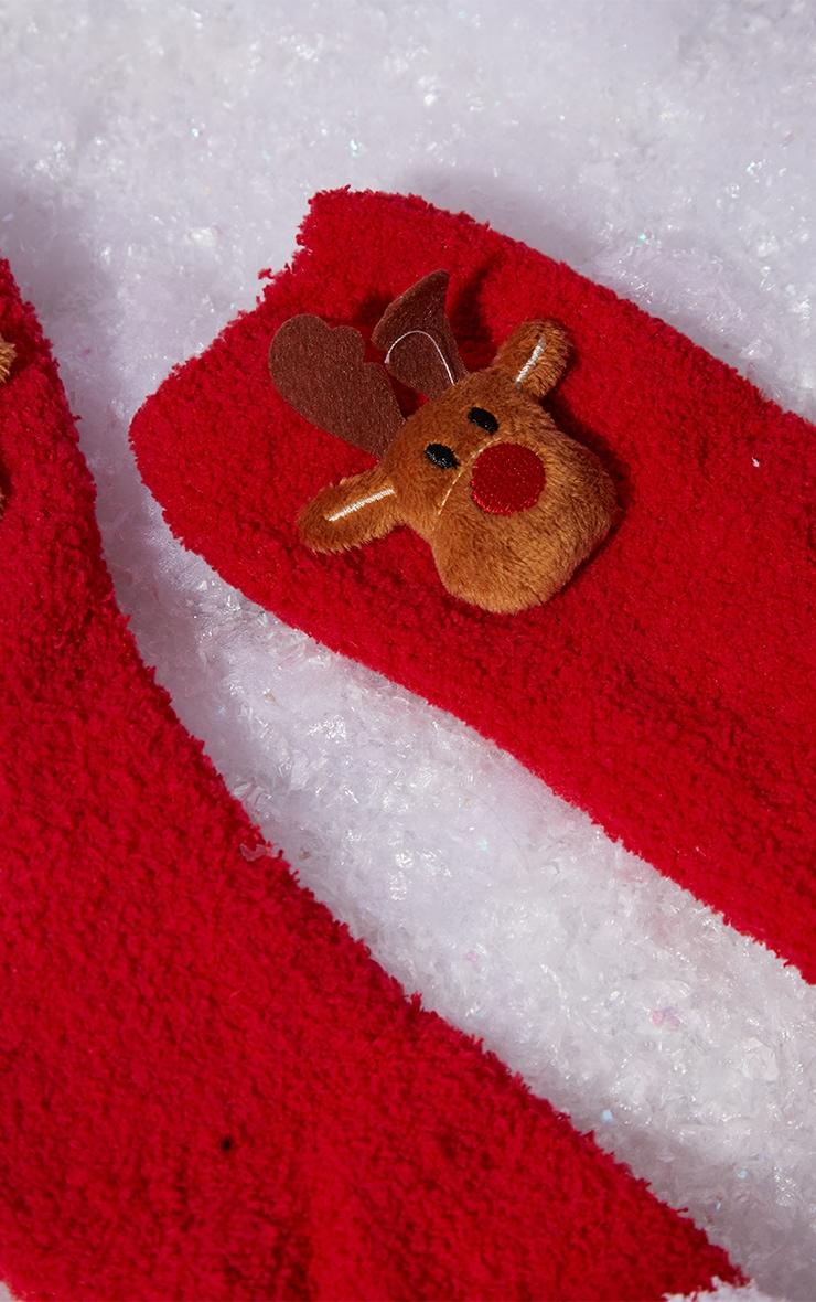 Red Reindeer Sleep Socks In A Box Gift 3