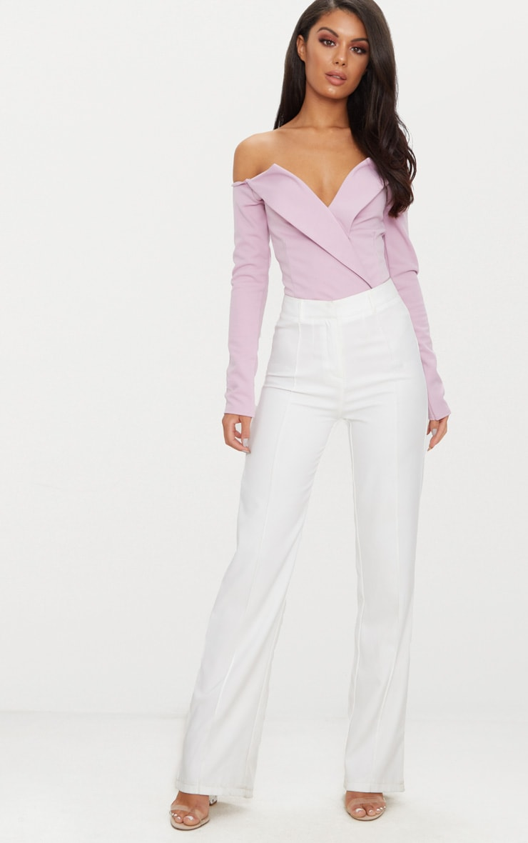 Mauve Tux Blazer Detail Bardot Bodysuit  5