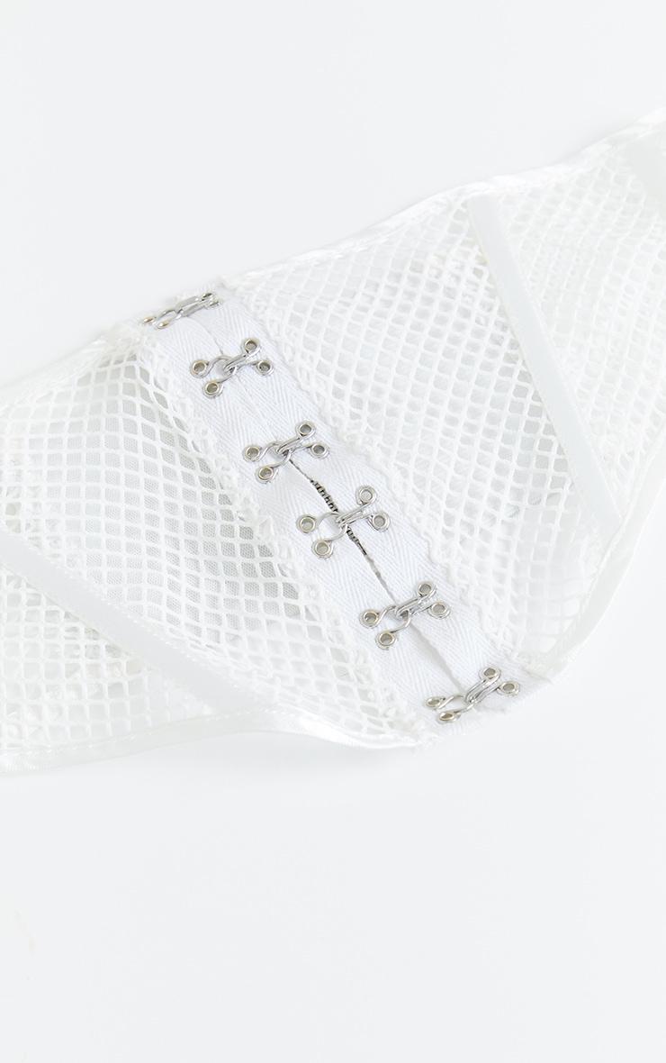 White Mesh Buckle Up Corset Belt 3