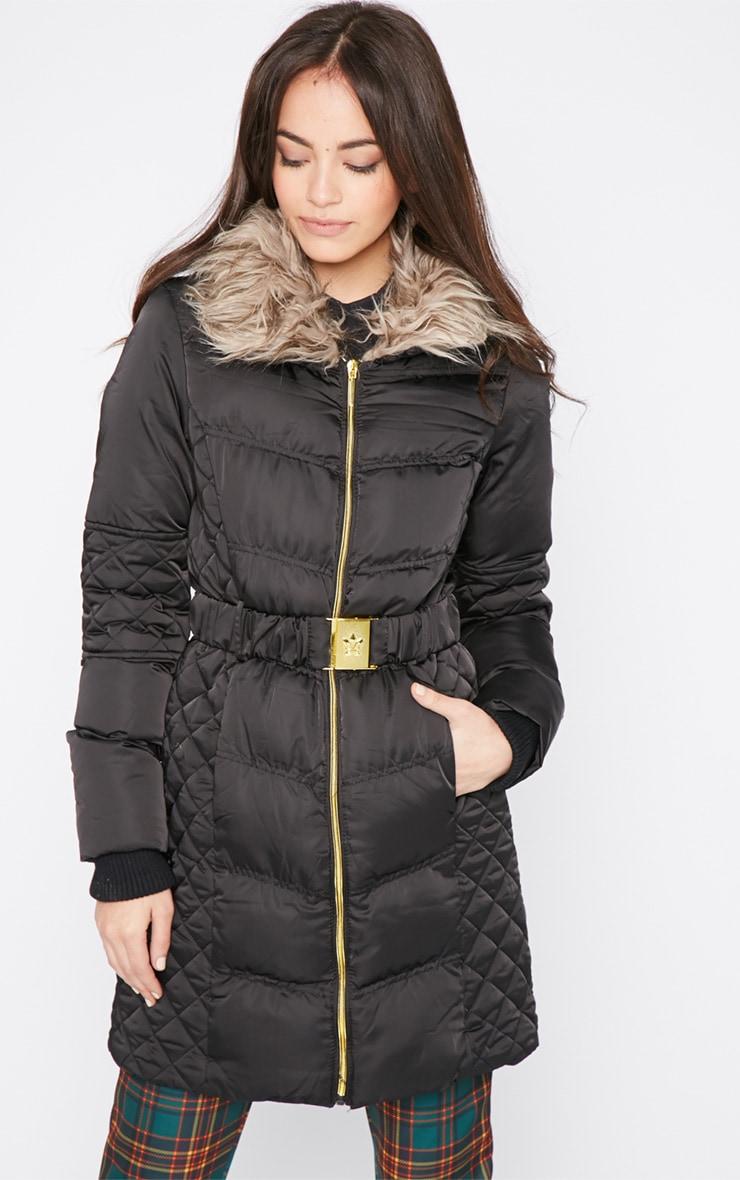 Nita Black Longline Fur Collar Belted Bubble Coat-16 4