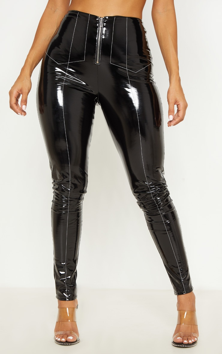 Black Contrast Stitch Vinyl Pants 2
