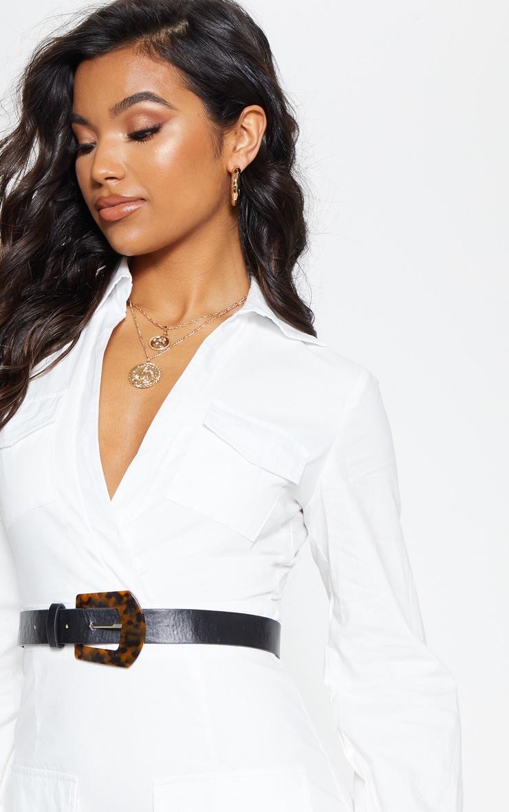White Utility Pocket Detail Bodycon Dress 6