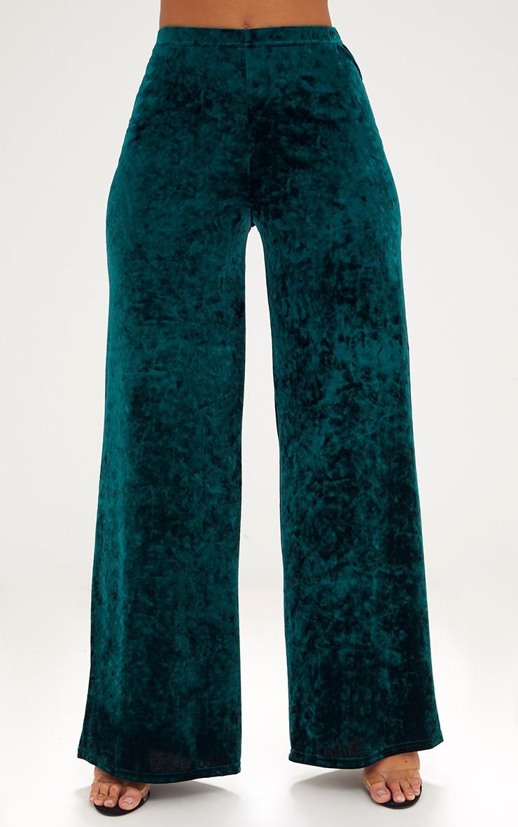 Emerald Green Crushed Velvet Suit Trouser 2