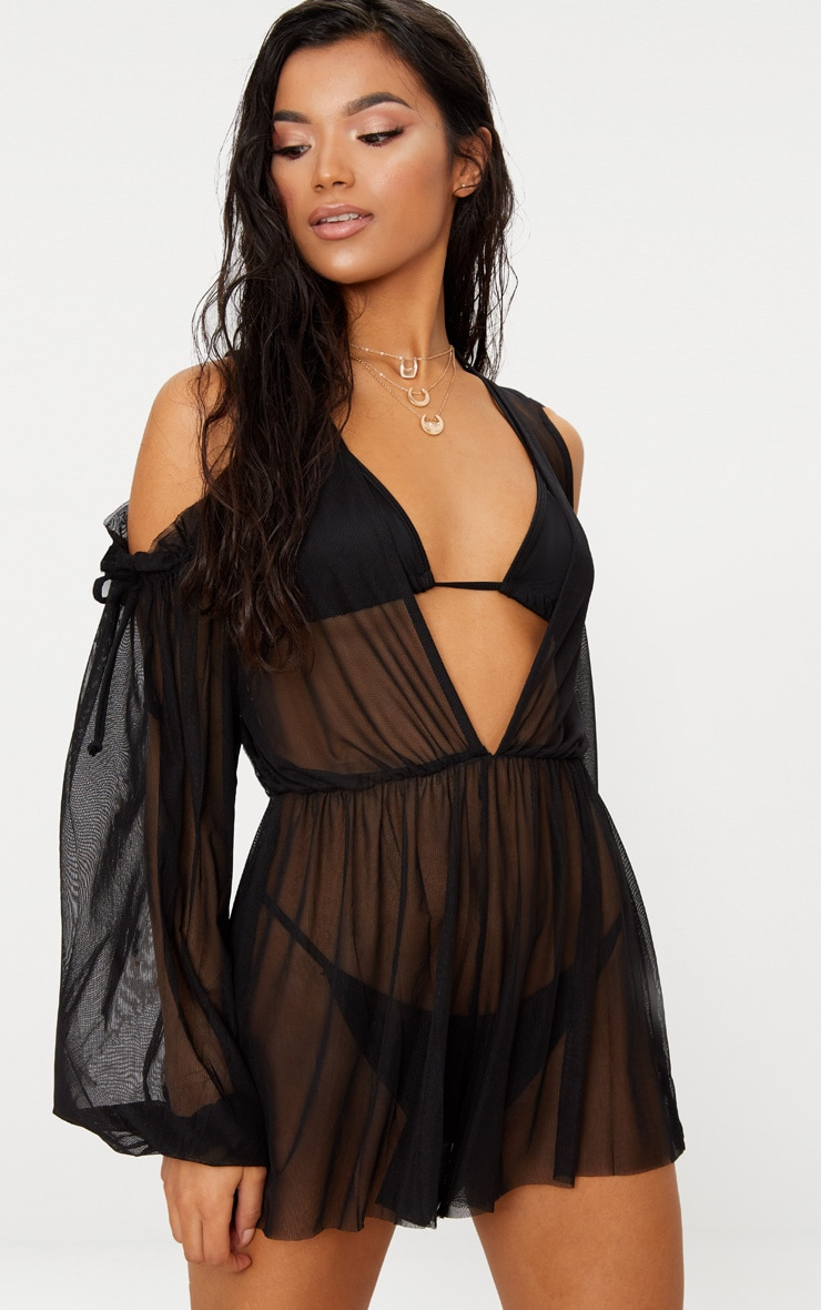Black Cold Shoulder Plunge Mesh Beach Playsuit 1