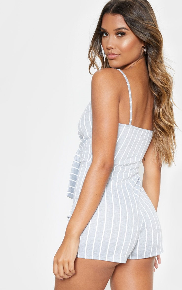 Grey Stripe Knot Detail Plunge Strappy Playsuit 2