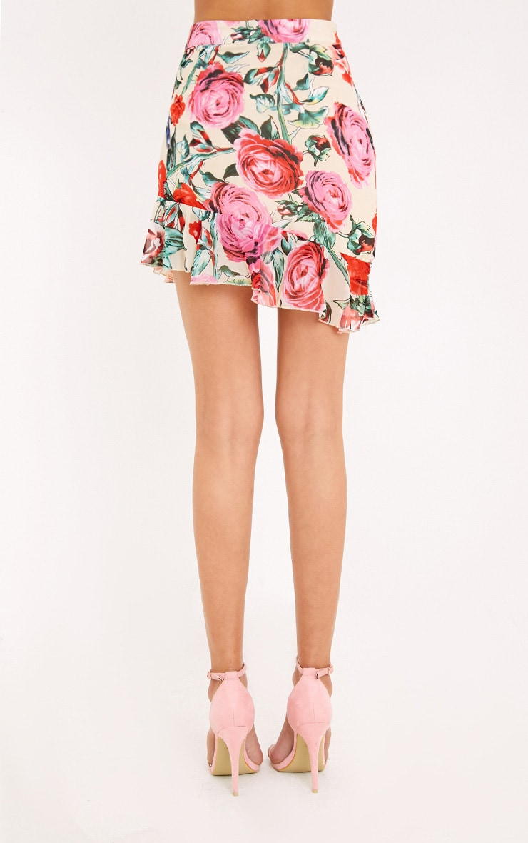 Ezra Cream Floral Frill Hem Mini Skirt  4