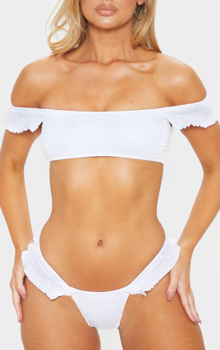 White Frill Side Shirred Bikini Bottom 5