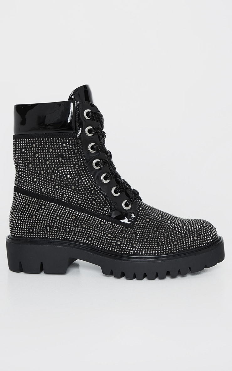 Black Stud Embellished Biker Boot 1