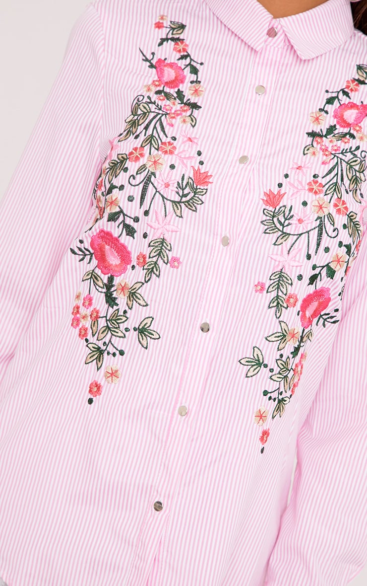 Pheobe Pink Embroidered Striped Shirt  5