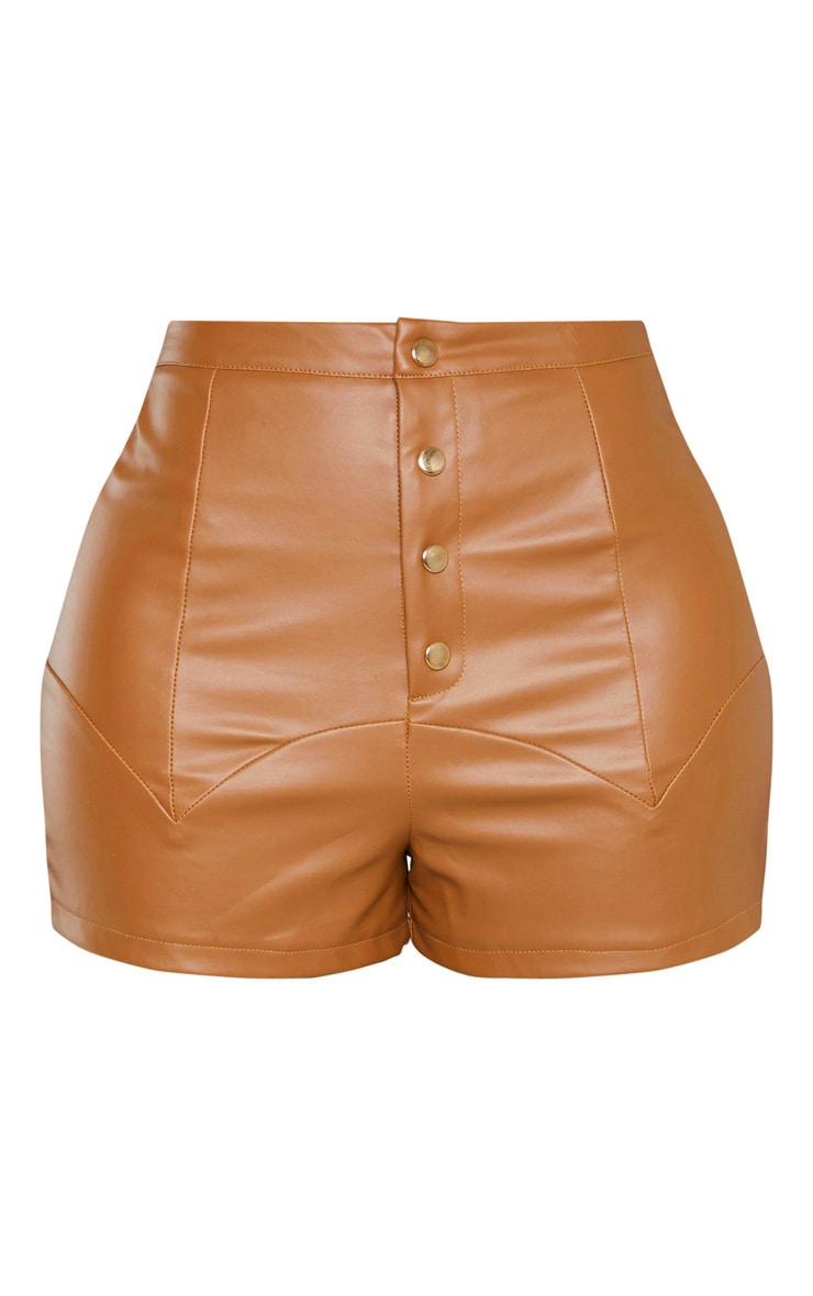 Shape Tan Faux Leather Button Front Shorts  3