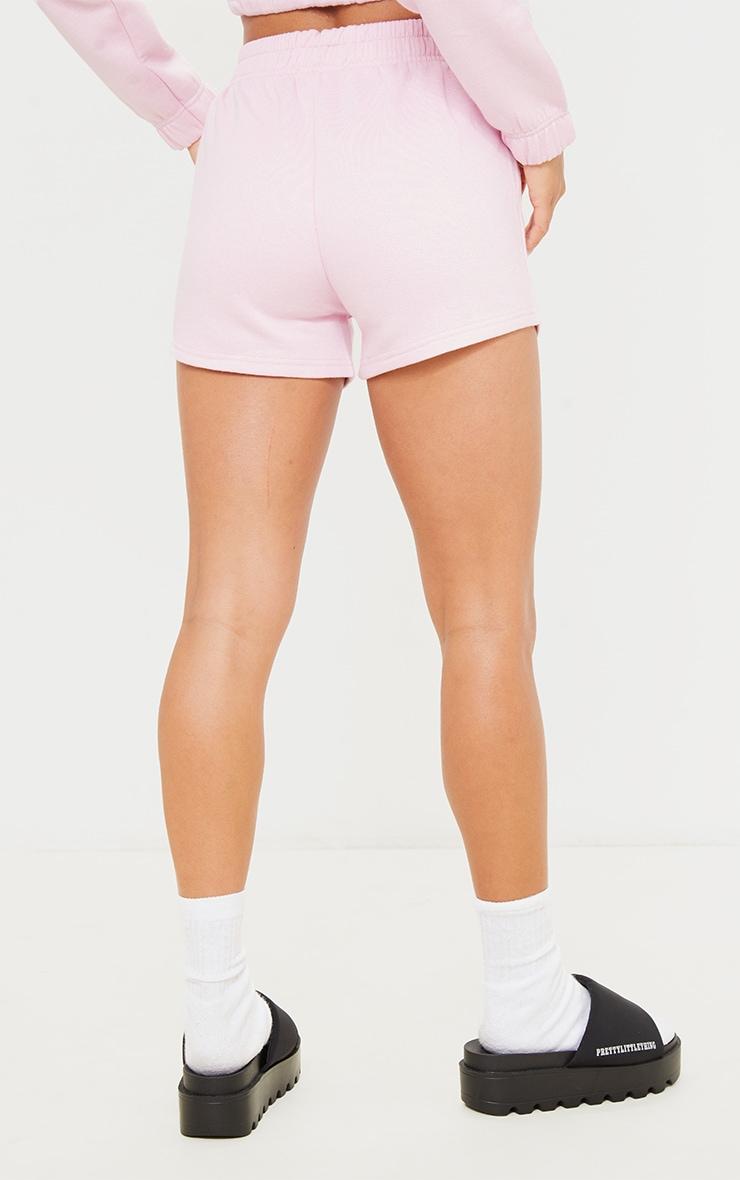 PRETTYLITTLETHING Petite Baby Pink Logo Sweat Shorts 3