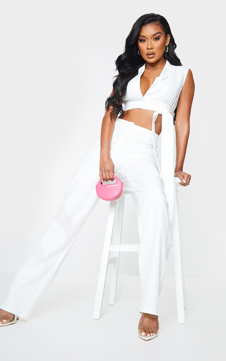 White Woven High Waisted Straight Leg Trousers 1