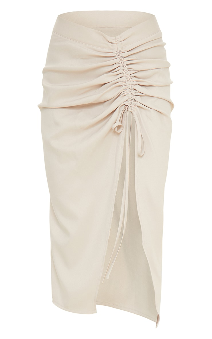 Champagne Woven Ruched Detail Midi Skirt 5