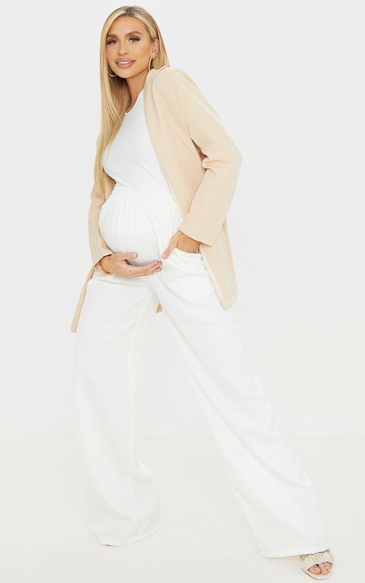 Maternity White Ruched Waist Wide Leg Pants 1