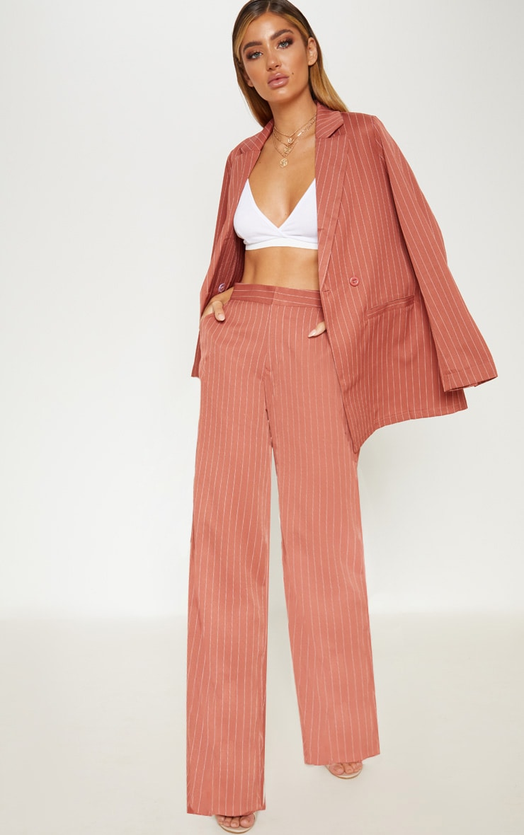 Rust Pinstripe Wide Leg Trouser