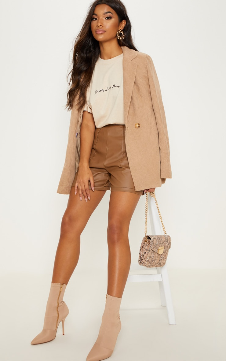 Taupe Button Detail Contrast Stitch Faux Leather Short 1