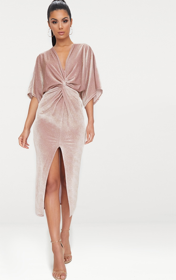 Dusty Pink Plunge Batwing Sleeve Knotted Detail Midi Dress
