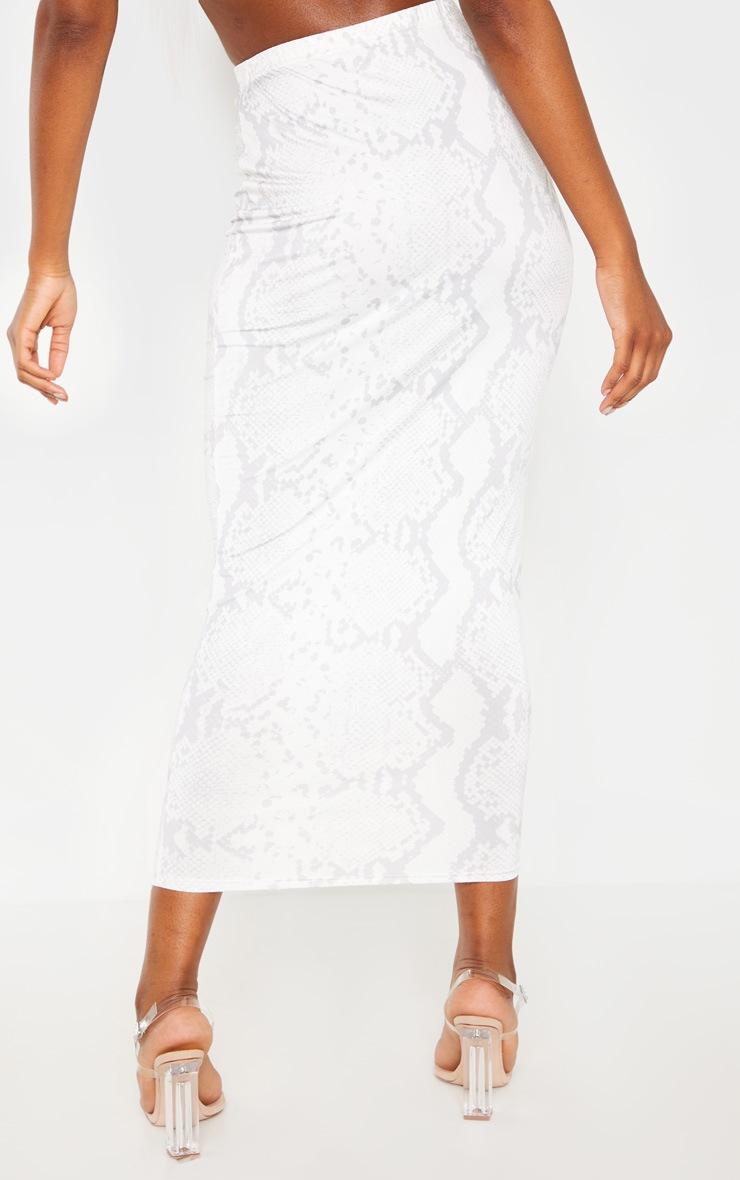 Cream Slinky Snake Print Midaxi Skirt 4