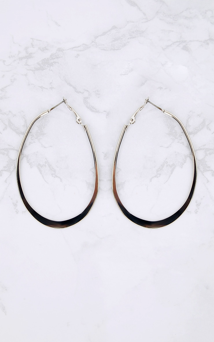 Silver Oval Hoop Earrings 3