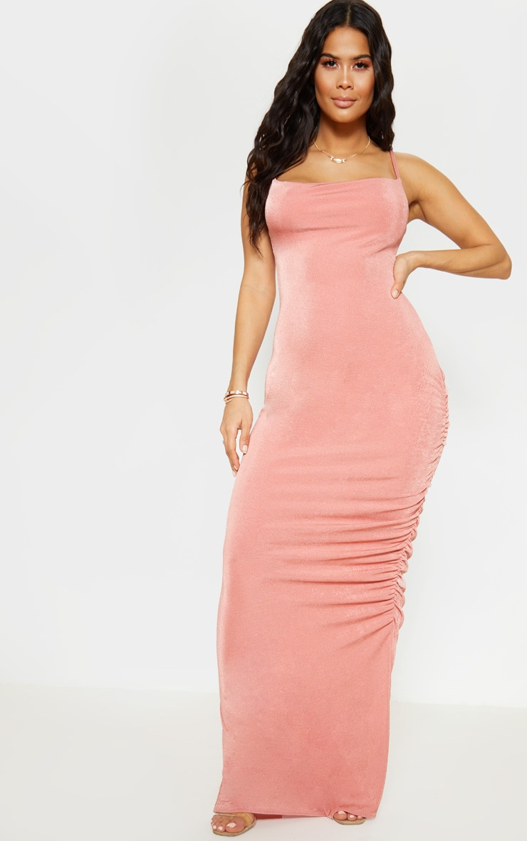 Blush Textured Slinky Ruched Maxi Dress 4