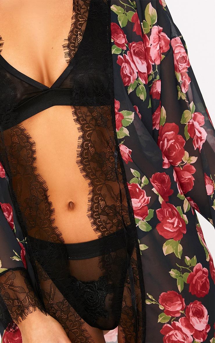 Hazel Black Rose Print Chiffon Short Robe  4
