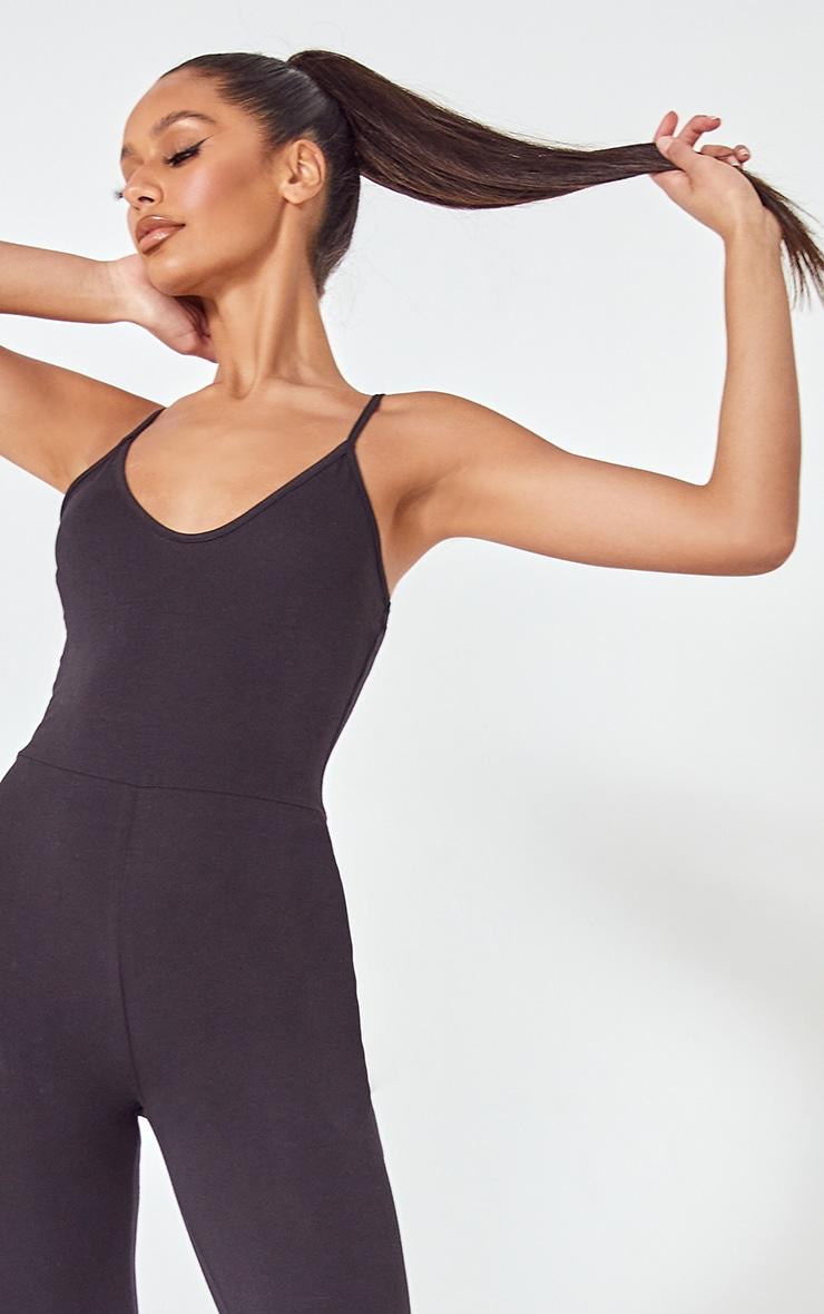 Basic Black Cotton Blend Strappy Plunge Jumpsuit 3