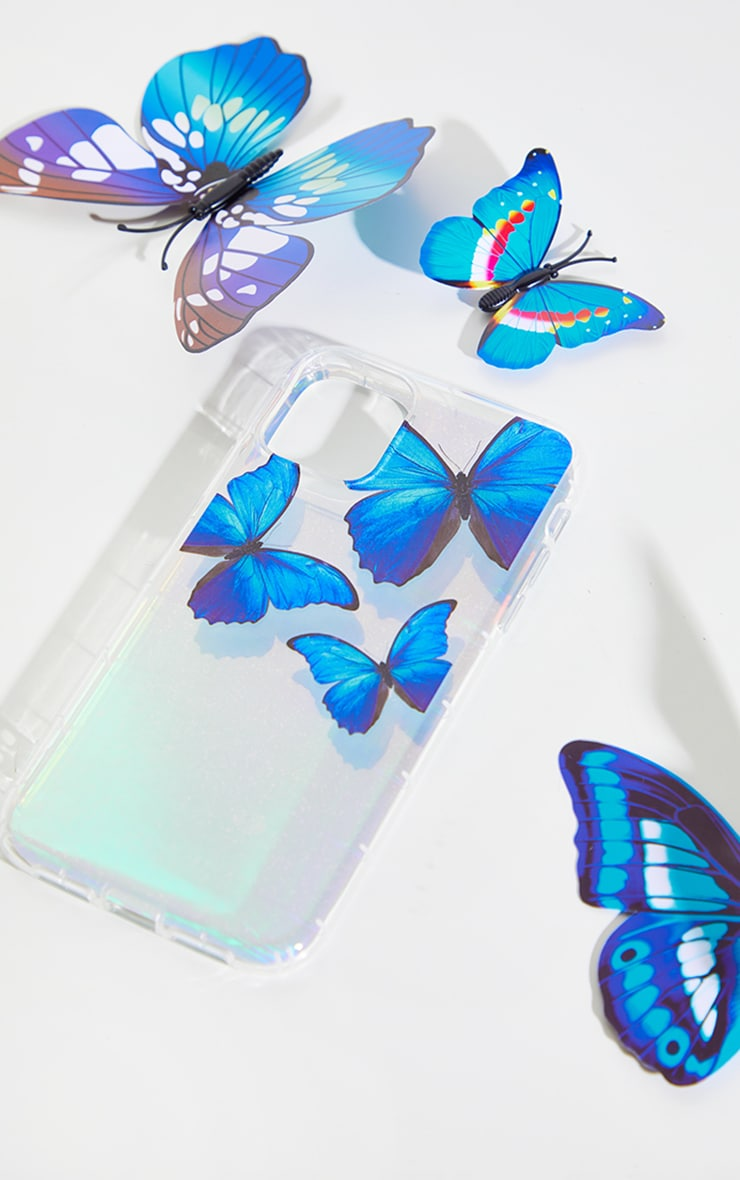 Silver Iridescent Blue Butterfly Iphone 11 Phone Case 3