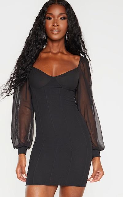 Black Ribbed Binding Detail Mesh Sleeve Bodycon Dress