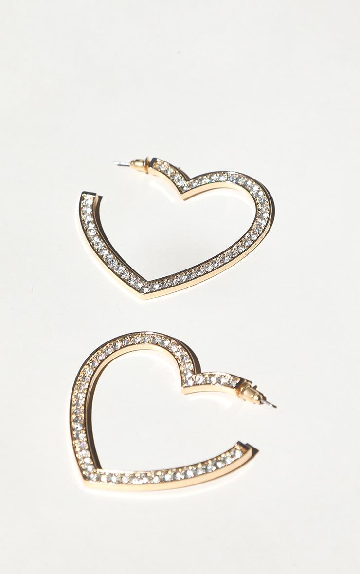 Gold Diamante Insert Heart Hoop Earrings 3