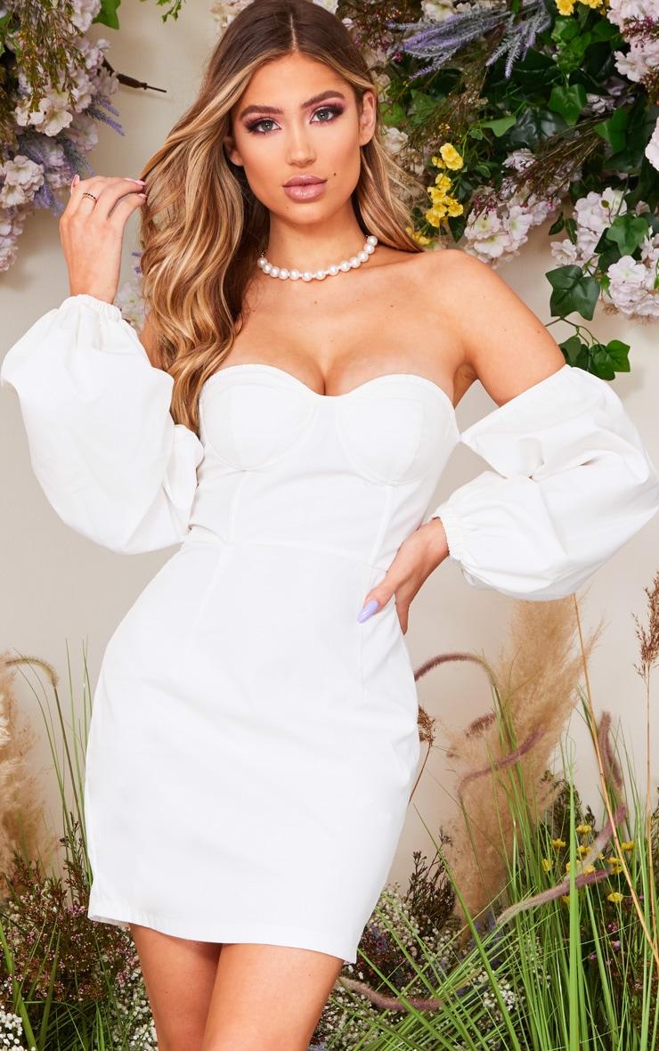 White Bardot Balloon Sleeve Underwired Bodycon Dress 1
