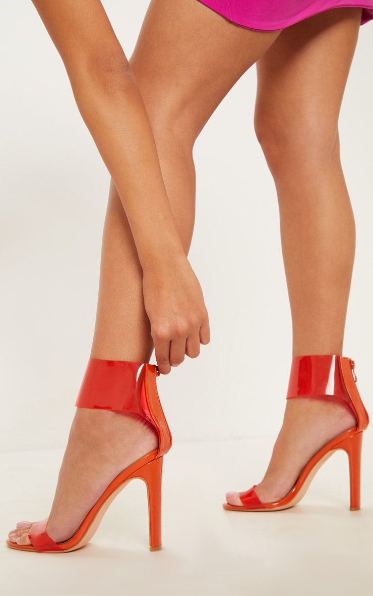 Orange Flat Heel Clear Cuff Strappy Sandal