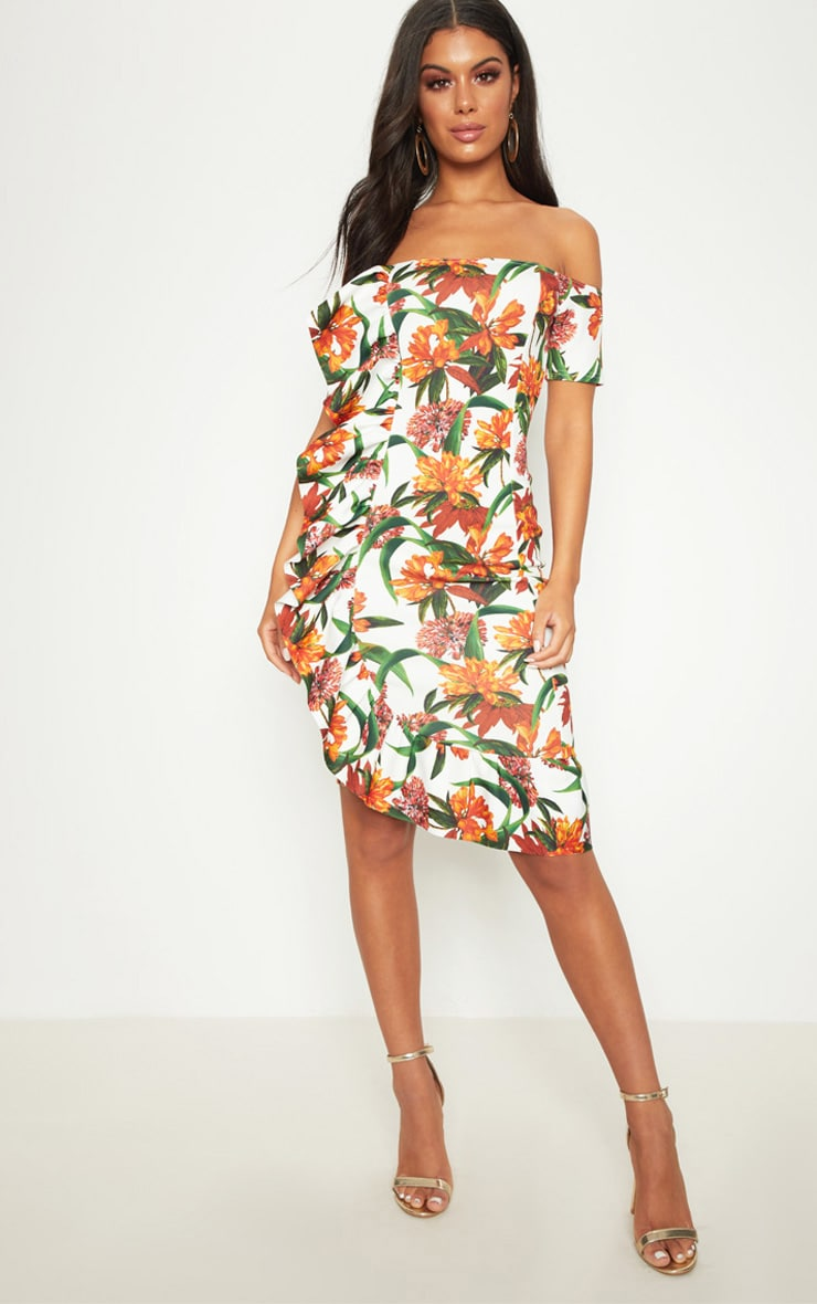 White Tropical Print Frill Detail Bardot Midi Dress 1