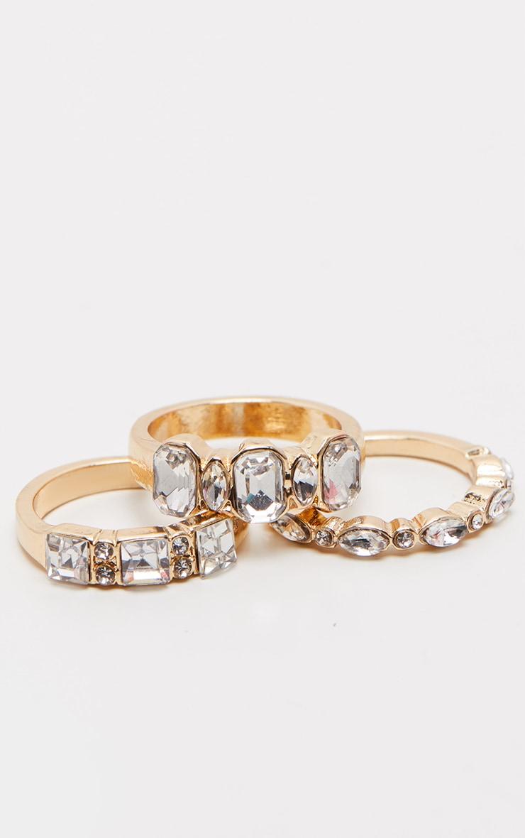 Gold Three Set Diamante Rings 1