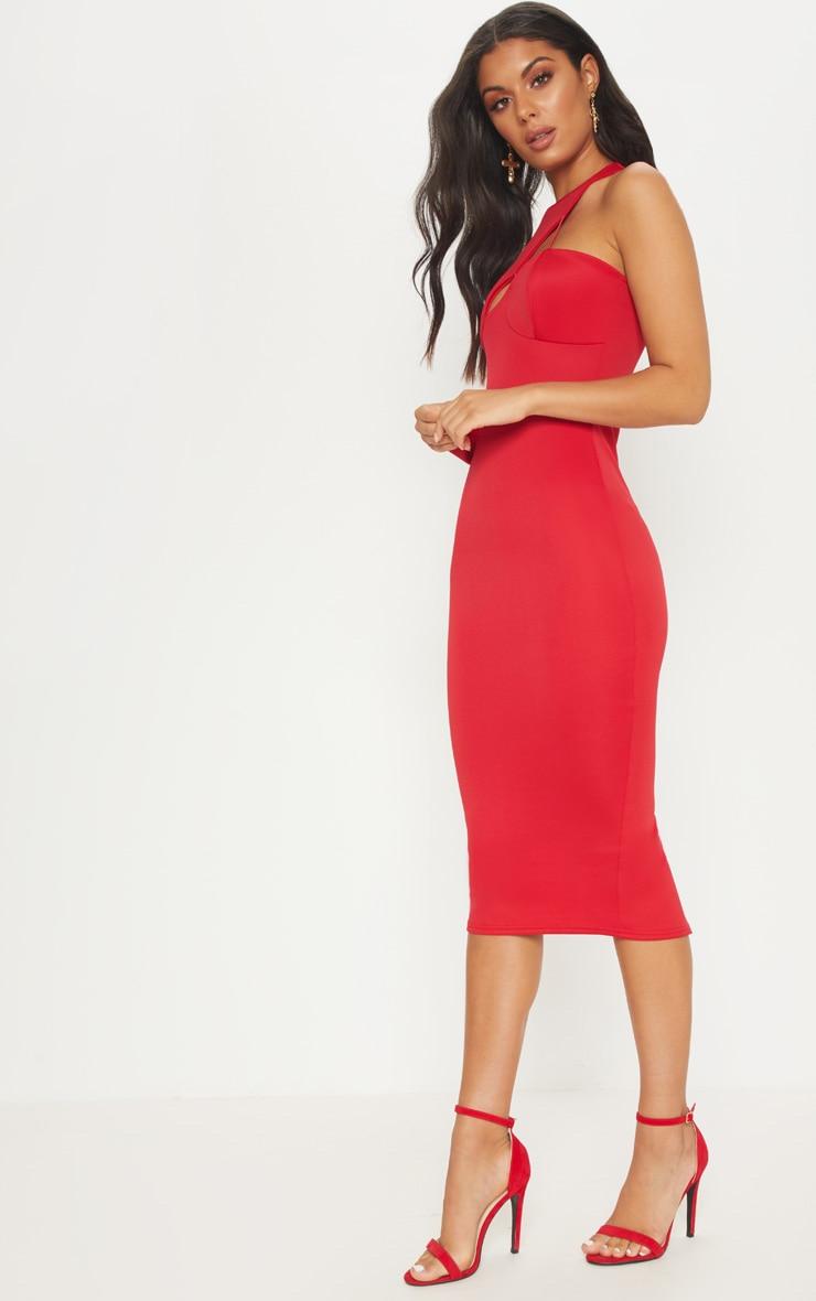 Red Asymmetric Sleeve Midi Dress 4