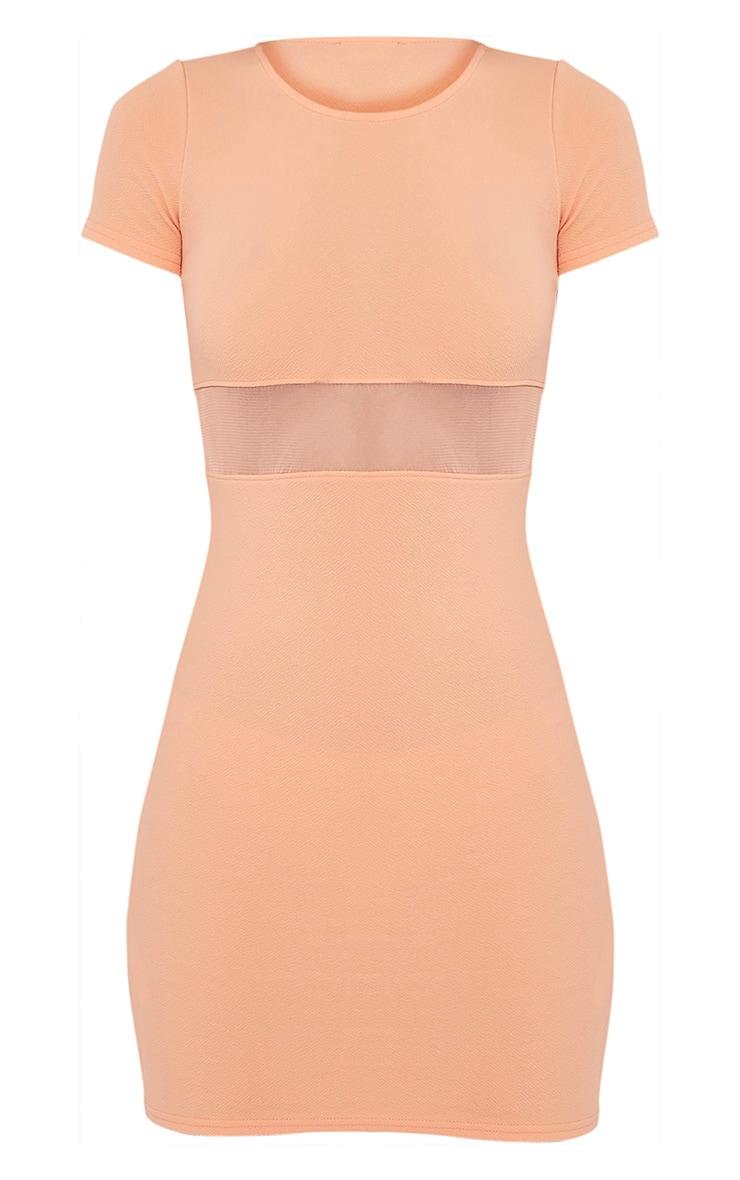 Kaylee Peach Short Sleeve Mesh Panel Bodycon Dress 3
