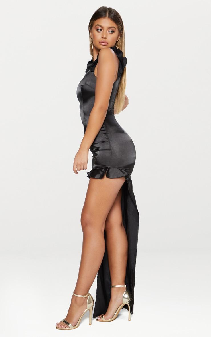 Black Satin Frill Shoulder Extreme Split Maxi Dress 4