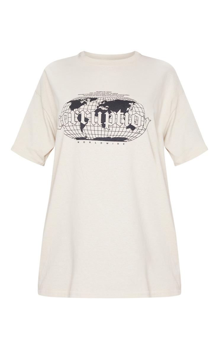 Tan Corruption Slogan Oversized T Shirt 5